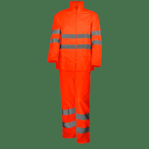 conjunto traje lluvia alta visibilidad naranja
